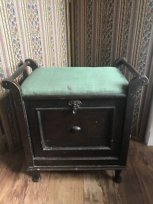 Antique Edwardian Dark Wood Piano Stool with Tilt Storage Small Queen Anne Feet