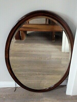 Antique Edwardian Mahogany Inlaid Oval Mirror - Hallway or Overmantle