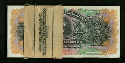 Costa Rica 1917 5 Colones Banknotes Crisp Uncirculated, Fresh Pack, Lot Of (100)