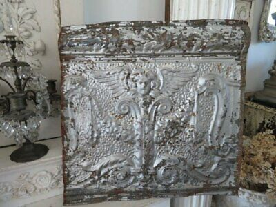 AWESOME Old Architectural CEILING TIN CHERUB ANGEL with WINGS Patina