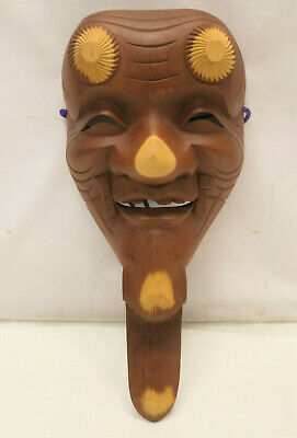 Vintage Mask Wooden Japanese Hand Made Theatrical Display Lucky God  #248