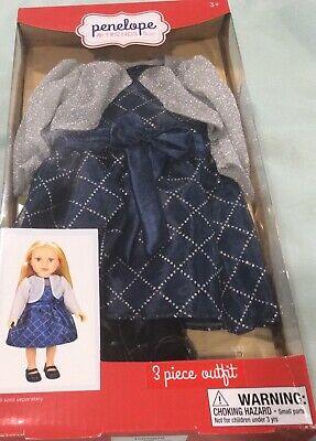 Penelope And Friends 3 Piece Outfit Dress, Shoes, Shrug—Fits Most 18 Inch Dolls