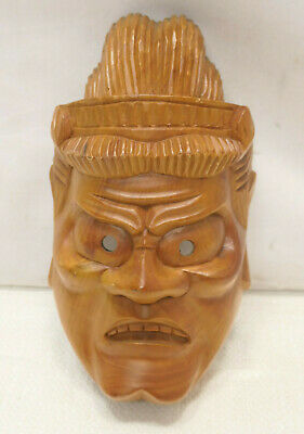 Vintage Mask Wooden Japanese Hand Made Theatrical Display Lucky God #253