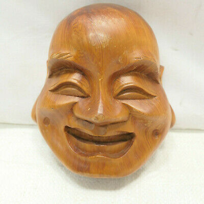 Vintage Mask Wooden Japanese Hand Made Theatrical Display Lucky God #254