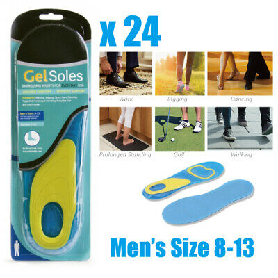 24 Pairs of Massaging Gel Shoe Insoles Arch Supports For Men High Quality