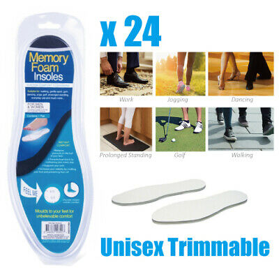 24 Pair of Memory Foam Insoles - Light Weight - Inner Sole - Unisex Comfortable
