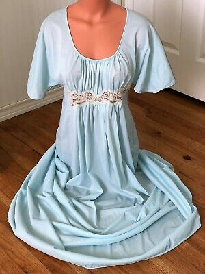 VANITY FAIR ~ VTG 70s ~ BRIDAL BLUE NYLON ~ SEXY LONG GOWN NIGHTGOWN ~ USA ~ S/M