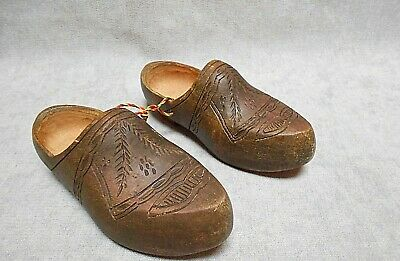 French Vintage Breton Country CARVED  Wood  CLOGS
