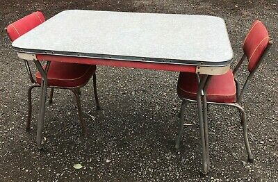 Laminated Kitchen Vintage Table 1950's & Two Chairs