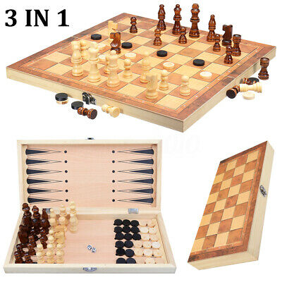 Wooden Chess Game Set Large Wood Board Folding Storage Box Hand Carved Piece A