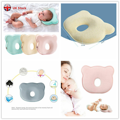 For Bed Neck-Support Anti Flat Head Pillow Newborn Infant Cushion Baby Cot UK