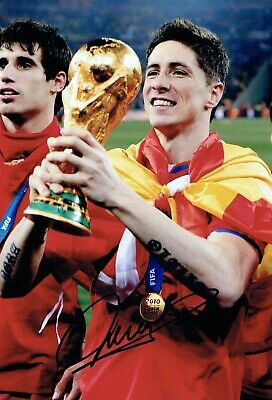 Fernando TORRES Signed Autograph 12x8 Photo 1 AFTAL COA Spain World Cup Winner