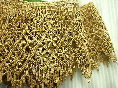 """STUNNING  7yards~ Big 4"""" Gold Victorian Lampshade Trim Scallop Venice lace Chic"""