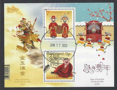 2020 Year of the Rat  Transitional Souvenir Sheet First Day Cancel
