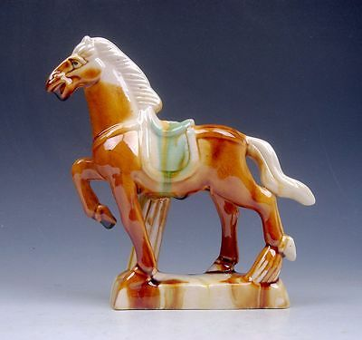 Chinese SanCai Painted Pottery Standing War Horse 1 Leg Up Sculpture #02201403