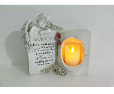 Memorial Book With LED Candle With Verse MUM & DAD Graveside Remembrance