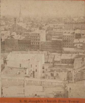 OLD ca.1880 ROCHESTER NEW YORK NY BIRDs EYE VIEW w ST. JOSEPHS CHURCH from TOWER