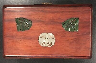 Chinese Rosewood Box with Jade Pieces on Top