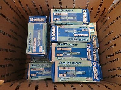 "100 pcs 2 BOXES STAR Steel Pin Anchor anchors 1/4"" x 2-3/8"" CONCRETE 4 BOXES"