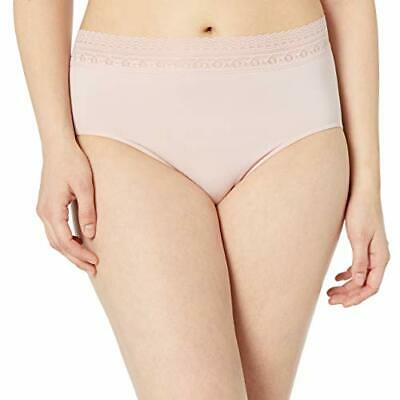 Bali Women's Comfort Revolution Seamless Brief Panty, Sheer Pale Pink Lace, 10/1