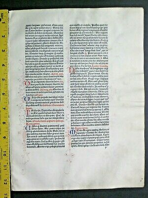 Extremely rare incunabula,Breviary leaf on vellum,handpt.initials,Jenson,1478#5A