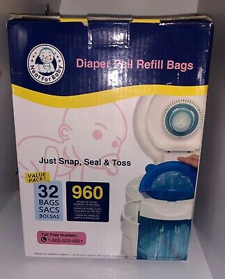 For Baby Diaper Pail Refill Bags. 32 Bags holds up to 960 DiapersNeat For