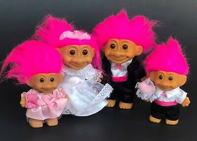 Bride and Groom with Ring Bearer Flower Girl Russ Trolls Wedding Party Doll Lot