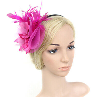 Fashion Feather Ribbon Gift Hair Band Hat Women Accessory Flower Fascinator