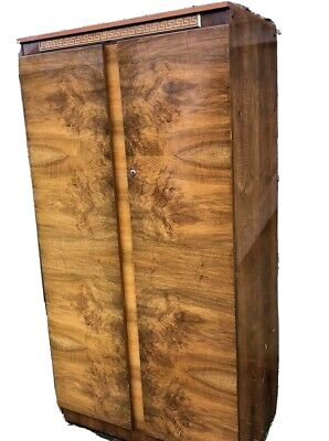 Art Deco Burr Walnut Antique Wardrobe Armoire 1920s/1930s