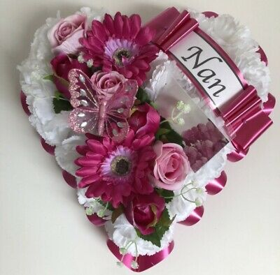 Artificial Silk Funeral Flowers Pink Heart Tribute Memorial Wreath Mum Nan