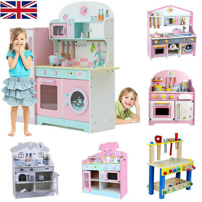 Large Kids Wooden Play Kitchen Children Tool Work Bench Boys Girls Role Play Toy