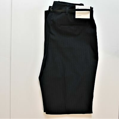 Calvin Klein Womens 6P Black and Gray Pinstripe Suit Slacks New With Tags