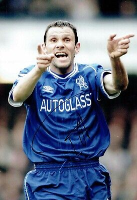 Gus POYET Signed Autograph 12x8 Photo AFTAL COA Chelsea Football Legend