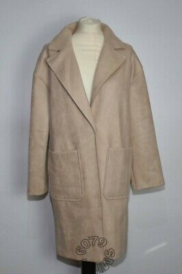 BNWT Zara Faux Suede Coat With Patch Pockets Size Small