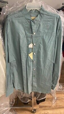 New LARGE Stubbs Western Shirt KHAKI Banded Collar w//METAL Buttons