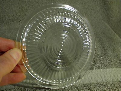 """VINTAGE REFRIGERATOR DISH ROUND LID CLEAR GLASS RIBBED 5.5"""" diameter"""
