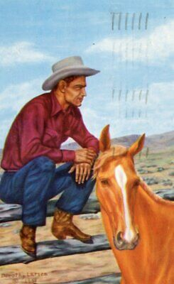 Postcard Old West The Old Corral Cowboy & Horse from Painting by Dorothy Larsen