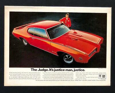 1969 Pontiac GTO Advertisement The Judge Justice Muscle Car Vintage Print AD