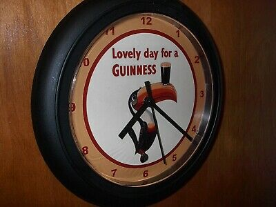 Guinness Toucan Irish Stout Beer Bar Man Cave Advertising Black Wall Clock Sign