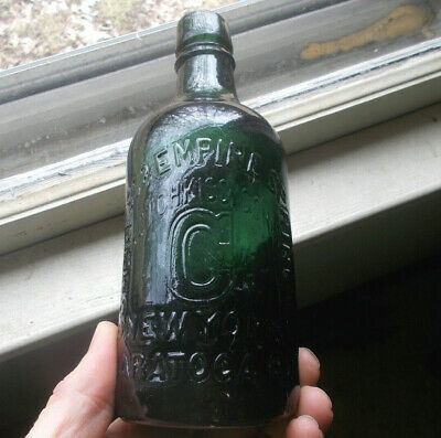 HOTCHKISS' SONS CONGRESS WATER SARATOGA GREEN PINT 1860s MINERAL WATER BOTTLE