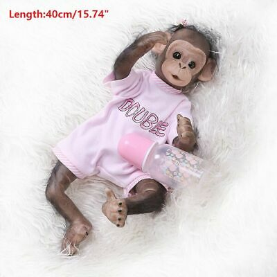 "16"" Lifelike Soft Silicone Vinyl Reborn Newborn Baby Monkey Boy Doll Toy Gift"