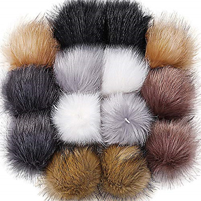 Faux FoxFur Pom Pom With Pin FakeFur Hat  Removable Fluffy Ball Accessory kwWF