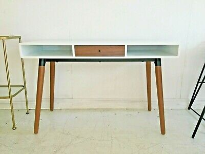 Made.com Edelweiss Scandi Mid century Retro Modern Home Office Desk Oak & White