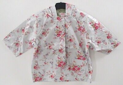 BNWT Cath Kidston Blue Floral Rose Hooded Zipped Rain Mac Lined Coat Age 5-6