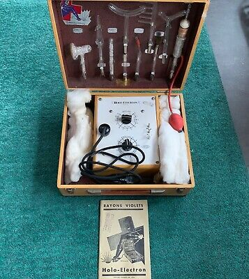 Holo Electron Violet Ray Machine, Antique, in Box with 9 Glass Wands