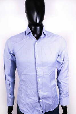 Massimo Dutti Mens Shirt Tailored Blue Checked size 39