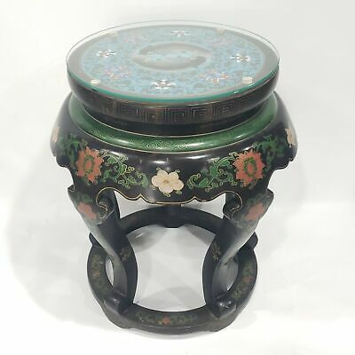 Vintage Chinese Cloisonne Lacquer Painted Side Table Garden Stool
