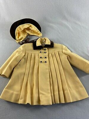 Vintage 1950s Pixie Togs Toddler Girl Wool Coat Bonnet Yellow Brown Trim Sz 3-4T