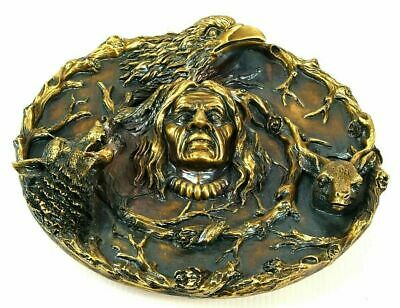 Sculpture Indian Chief Eagle Relic Home Decor Wall Hanging Decoration Vtg  20cm