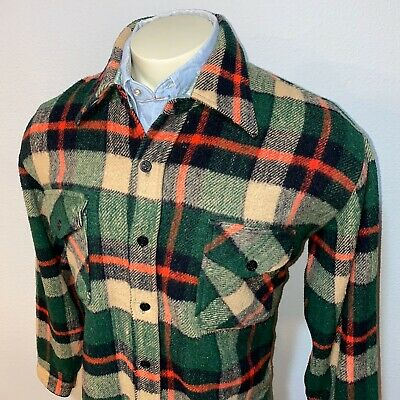 Vtg 70s PACIFIC WOOLENS Shirt Jacket Flannel Cruiser Anchor Button MENS LARGE